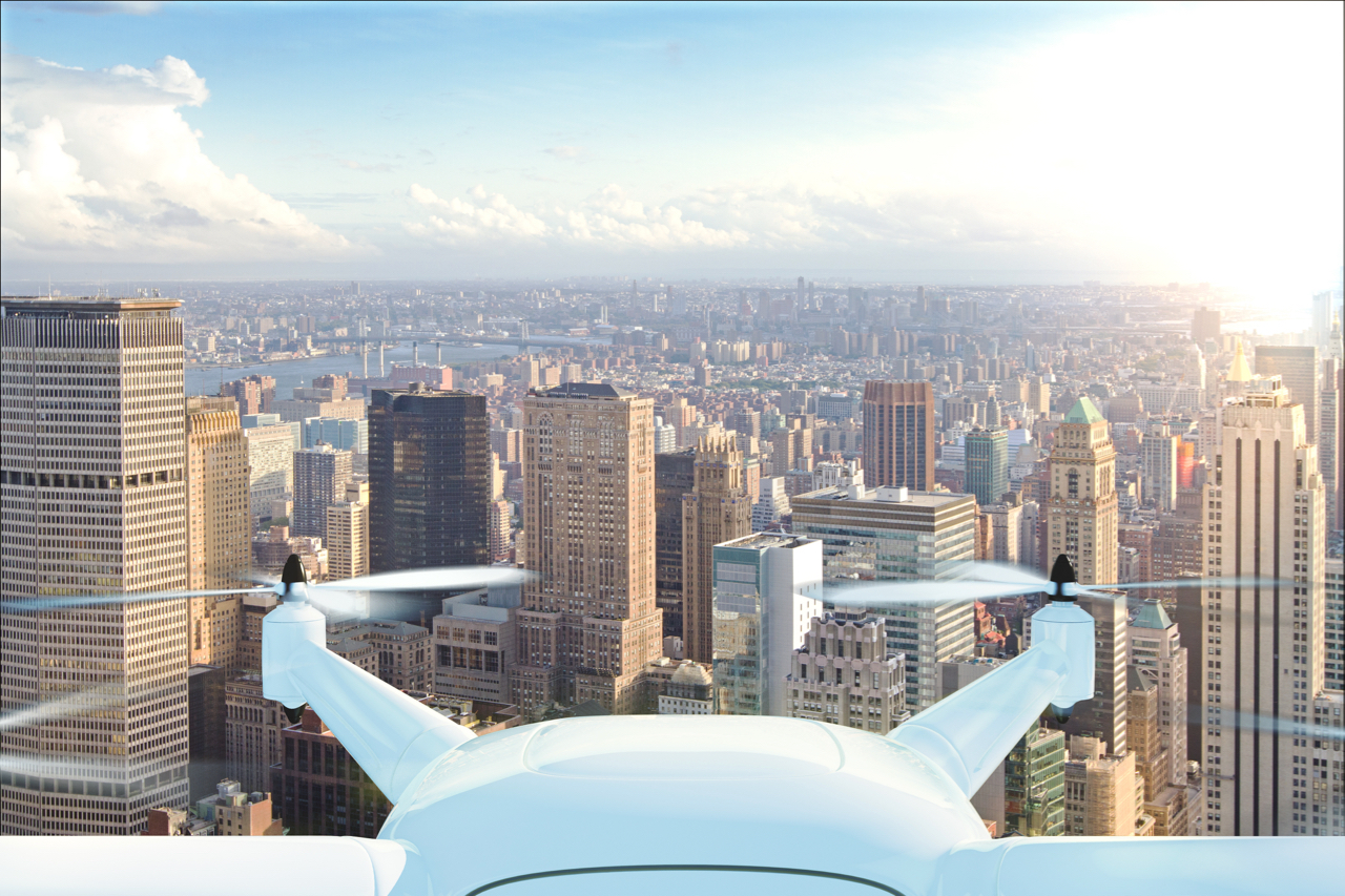 drone-delivers-the-goods-against-the-background-of-new-york-at-sunset