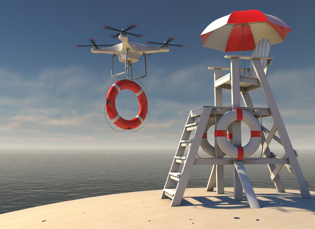 flying-drone-with-lifebuoy-leaving-lifeguard-tower